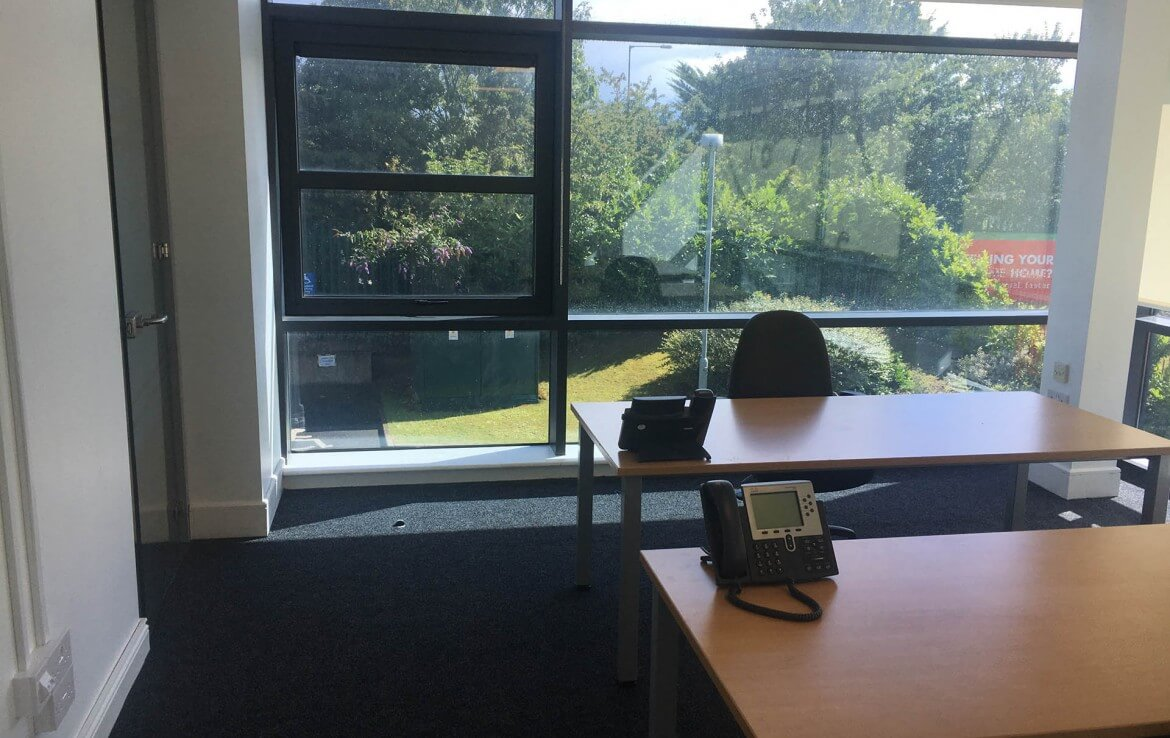 Interior of a serviced office in Santry, with an outside view form the window